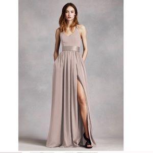 David's Bridal Biscotti Bridesmaid Maxi Dress